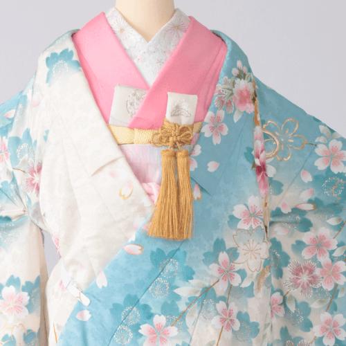水色地枝垂れ桜刺繍に牡丹 × 桃色掛下