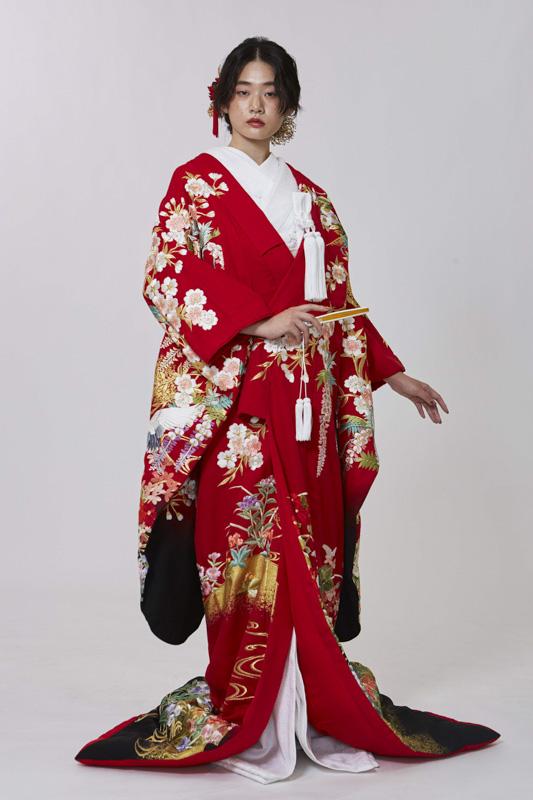 枝垂れ桜に花車赤/黒