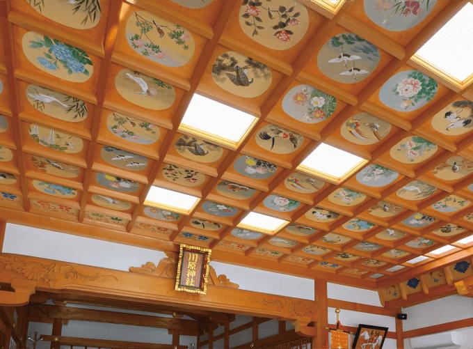 220枚の美しい天井絵が挙式を華やかに